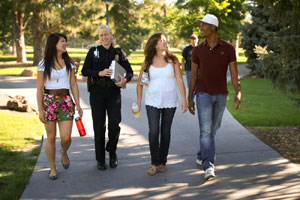 Officer giving a Campus Escort
