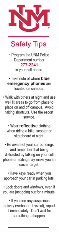 Front of Campus Safety Bookmark